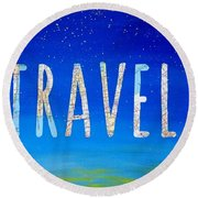 Travel Word Art Round Beach Towel