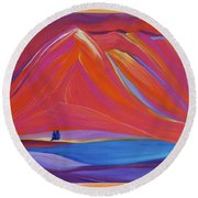 Travelers Pink Mountains Round Beach Towel