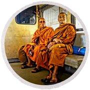 Traveling Monks Round Beach Towel