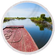Traveling Through Tonle Sap Lake Round Beach Towel