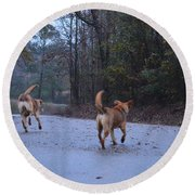 Traveling Twins Round Beach Towel