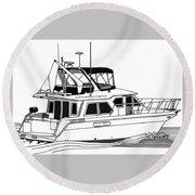 Trawler Yacht Round Beach Towel by Jack Pumphrey