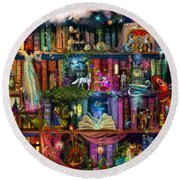 Fairytale Treasure Hunt Book Shelf Round Beach Towel