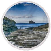 Trebarwith Strand Cornwall Round Beach Towel