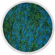 Tree Abstract Blue Green Round Beach Towel
