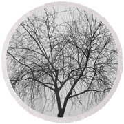 Tree Abstract In Black And White Round Beach Towel