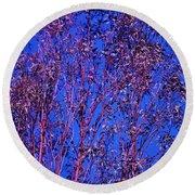 Tree Abstract Purple Blue  Round Beach Towel