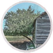 Tree And Building Round Beach Towel