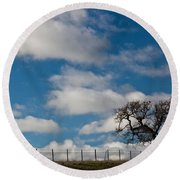 Tree And Fence On A Landscape, Santa Round Beach Towel