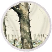 Tree And Geese Round Beach Towel
