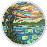 Tree And Lilies At Sunrise Round Beach Towel