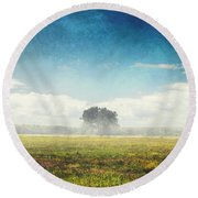 Tree And Meadow Round Beach Towel