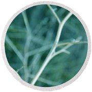 Tree Branches Abstract Teal Round Beach Towel