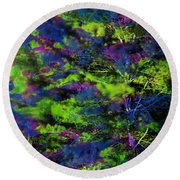 Tree Branches Lit With Abstract Colorful Projection Round Beach Towel