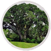 Tree By The River Round Beach Towel