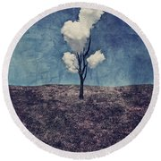 Tree Clouds 01d2 Round Beach Towel by Aimelle