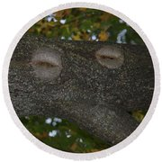 Tree Face 1 Round Beach Towel