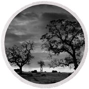 Tree Family In Black And White Round Beach Towel