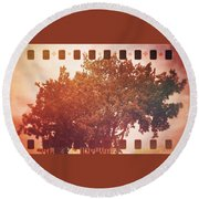 Tree Grunge Vintage Analog Film Round Beach Towel