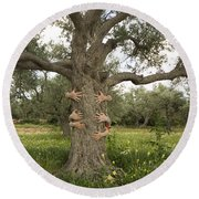 Tree Hugging Green Ecological Concept  Round Beach Towel