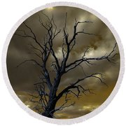 Tree In A Storm Round Beach Towel
