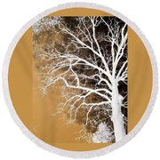 Tree In Abstract Round Beach Towel