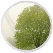 Tree In Fog Round Beach Towel