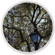 Tree In French Quarter Round Beach Towel