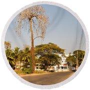Tree In Goa Round Beach Towel