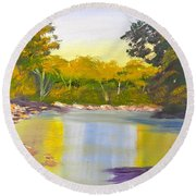 Tree Lined River Round Beach Towel