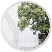 Tree Next To A Lake Round Beach Towel