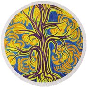 Tree Of Happiness Round Beach Towel