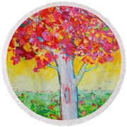 Tree Of Life In Spring Round Beach Towel by Ana Maria Edulescu