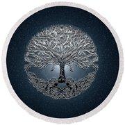 Tree Of Life Nova Blue Round Beach Towel