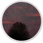 Tree Of Life Under A Colorful Sky Round Beach Towel