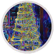 Tree Of Light Round Beach Towel
