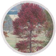 Tree Of Red Round Beach Towel