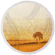 Tree On Hill At Dusk Round Beach Towel by Pixel  Chimp