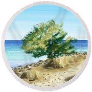 Tree On The Beach Round Beach Towel by Veronica Minozzi