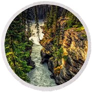 Tree On The Edge Of A Cliff Round Beach Towel