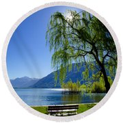 Tree On The Lakefront Round Beach Towel