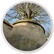 Tree On The Wall Round Beach Towel