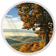 Tree Overlook Vista Landscape Round Beach Towel