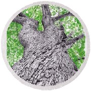 Tree Pen Drawing 4 Round Beach Towel