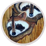 Tree Raccoons Round Beach Towel