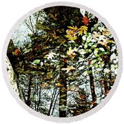 Tree Reflected In Leaves Round Beach Towel