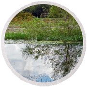 Tree Reflecting In Pond Round Beach Towel