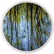 Tree Reflections On A Pond In West Michigan Round Beach Towel