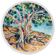 Tree Roots Round Beach Towel