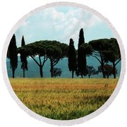 Tree Row In Tuscany Round Beach Towel